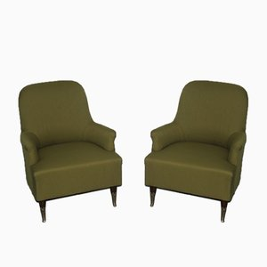 Green Italian Armchairs, 1950s, Set of 2