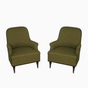 Green Italian Armchairs, 1950s, Set of 2