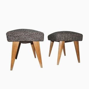 Stools with Shaped Maple Feet, 1950s, Set of 2