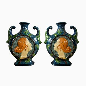 Art Nouveau Majolika Vases, 1910s, Set of 2