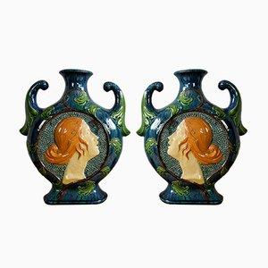 Vasi Art Nouveau in maiolica, anni '10, set di 2