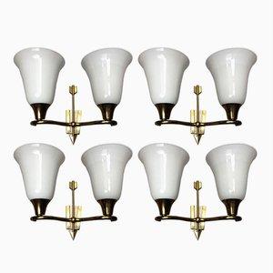 Lámparas de pared italianas de doble brazo de Emilio Lancia, años 40. Juego de 4