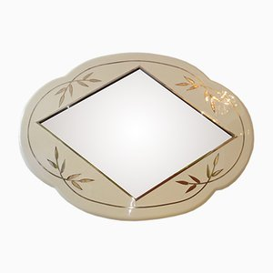 Italian Lacquered Wall Mirror with Inlaid Brass, 1980s