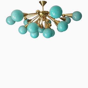 Turquoise Murano Glass Semi Sputnik Ceiling Light, 1970s