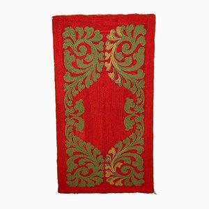 Tapis Vintage Rouge Fait Main, Amérique, 1920s