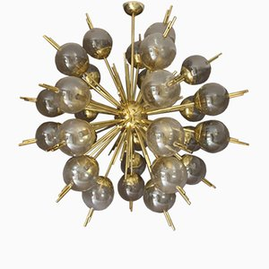 Sputnik Chandelier in Brass with Golden and Mercury Murano Glass Globes, 1970s