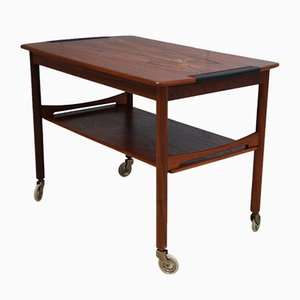 Vintage Coffee Table in Rosewood on Wheels, 1950s
