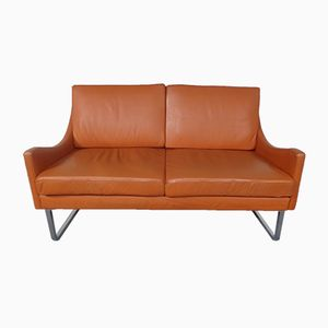 Leather Sofa on Skids, 1970s