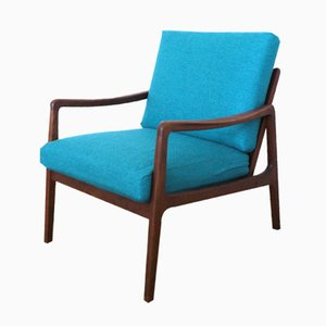 Mid-Century FD109 Blue Teak Easy Lounge Chair by Ole Wanscher for France & Søn
