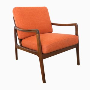 Mid-Century FD109 Orange Teak Easy Lounge Chair by Ole Wanscher for France & Søn