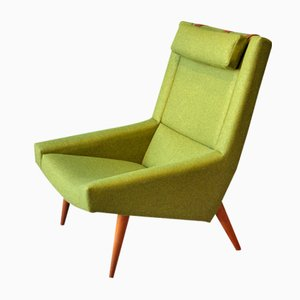 Sillón vintage verde con respaldo alto de Illum Wikkelso para Soren Willadsen