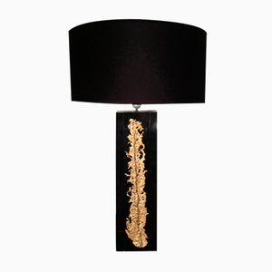 Black Table Lamp with Golden Inlay, 1970s