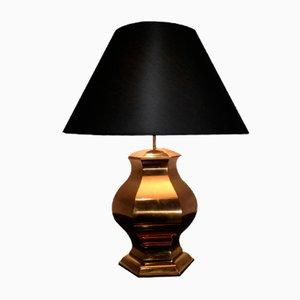 Lámpara de mesa redonda de latón, años 60