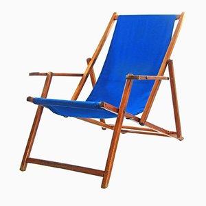Verstellbarer Blauer Vintage Buche Liegestuhl
