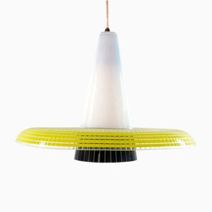 Vintage Yellow and Black Glass Hanging Lamp