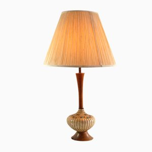 Vintage Plaster and Wood Table Lamp, 1950s