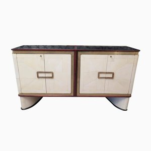 French Sideboard in Parchment and Brass, 1940s