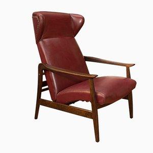Sedia alata regolabile in pelle, anni '40