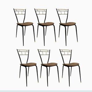Schwarz Lackierte Italienische Metall & Messing Esszimmerstühle, 1950er, 6er Set