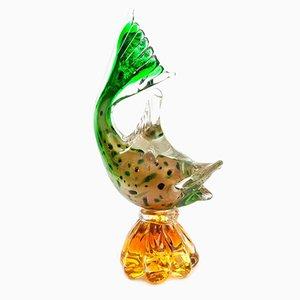 Jarrón vintage con forma de pez de cristal de Murano