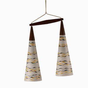 Lámpara colgante escandinava de teca y vidrio, años 60