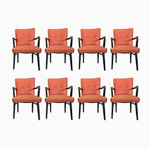 Italian Mahogany & Leatherette Armchairs, 1940s, Set of 8
