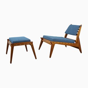 German Low Lounge Chair with Ottoman, 1950s