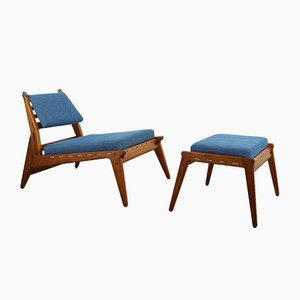 Vintage German Low Lounge Chair with Ottoman, 1950s