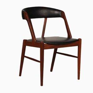 Silla de escritorio danesa de teca con asiento de escai negro, años 60