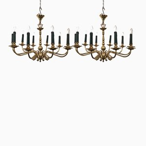 Ten-Arm Brass Chandeliers with Dolphin Heads, 1960s, Set of 2