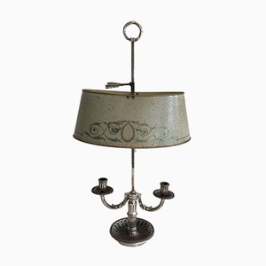 Silver Plated Candle Holder with Painted Sheet Metal Shade, 1900s