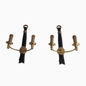 Applique in ottone nere con teste di leone, anni '40, set di 2