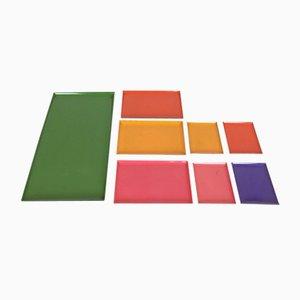Bandejas suecas multicolores, años 60. Juego de 8