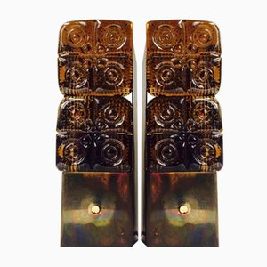 Danish Brass & Amber Glass Sconces from HAGS, 1950s, Set of 2