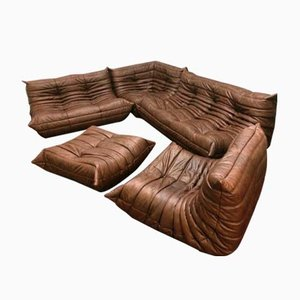 Vintage Togo Leather Living Room Set by Michel Ducaroy for Ligne Roset