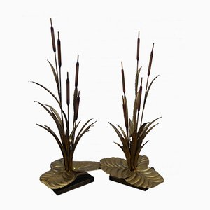 Mid-Century Brass Reed Lamps from Maison Jansen, Set of 2