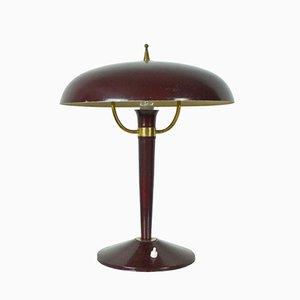 Lámpara de mesa italiana vintage de hierro fundido, años 50