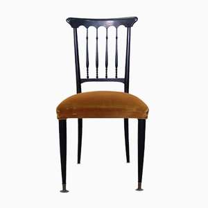 Italian Chiavari Chairs in Yellow-Brown Velvet, 1940s, Set of 2