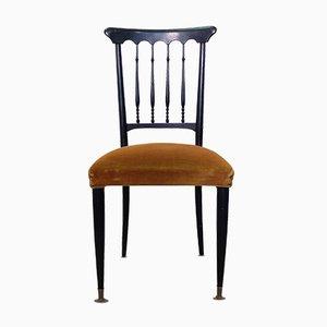 Italienische Chiavari Stühle aus gelbbraunem Samt, 1940er, 2er Set