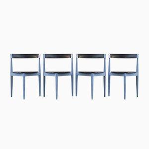 Sillas de comedor danesas vintage en azul de Hans Olsen para Frem Røjle. Juego de 4