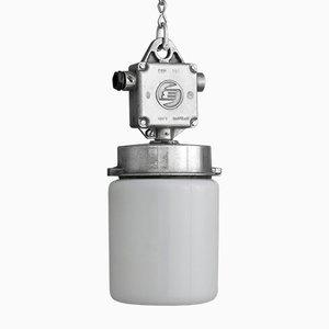 Lampe à Suspension Tchèque Vintage en Aluminium et Verre