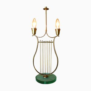 Italian Harp-Shaped Brass Table Lamp, 1930s
