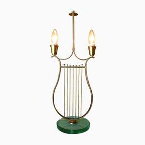 Italienische Harfen Messing Tischlampe, 1930er
