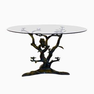 Mesa de centro vintage escultural con árbol y pájaros de latón de Willy Daro
