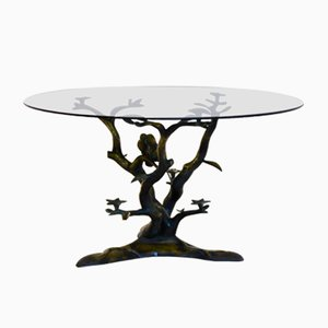 Table Basse Tree & Birds Vintage Sculpturale en Laiton par Willy Daro