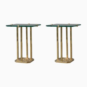 Brass and Glass Side Tables by Peter Ghyczy, 1970s, Set of 2