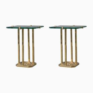 Tables d'Appoint en Laiton et Verre par Peter Ghyczy, 1970s, Set de 2