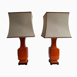 Vintage Orange Porcelain Table Lamps, Set of 2
