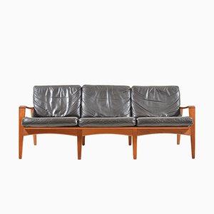 Sofá de tres plazas danés Mid-Century de teca de Arne Wahl Iversen para Komfort