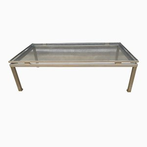 Modernist Brushed Steel Coffee Table by Guy Lefevre for Maison Jansen
